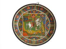 Ethiopian Religious Icon Painting On A Wooden Plate Saint George Spirituality