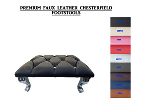 Chesterfield Footstool Faux Leather Diamante Queen Anne Style Legs 10 Colours