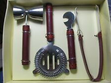 New listing Pier 1 Imports Bar Tools 460/4608 Four Pieces, New in Box, Leatherette Handles