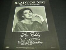 HELEN REDDY sings READY OR NOT the new single... 1978 PROMO POSTER AD mint cond