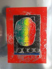 "UNIQUE EARLY TOMOE YOKOI  PRINT ON FOIL Signed Original Mezzotint  ""RAINBOW"""