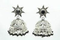 925 sterling silver jhumki dangle earrings with black onyx bead stones