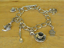 Vtg Style cooking/Coffee Time Charm Bracelet Silver-Tone Teapot/Cup w/Saucer+