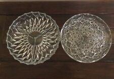 1 Vintage Diamond Cut & 1 Daisy & Button pattern Tri Divided Glass Relish Tray
