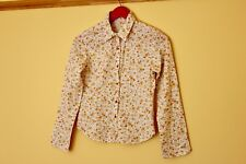 Vintage Shirt Blouse White with Multicoloured Floral Pattern Cotton Size 4/6