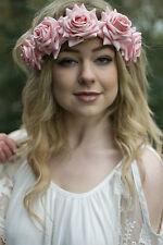 Large Peach Pink Gold Rose Flower Hair Crown Garland Boho Headband Festival V96