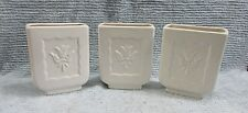 3 Old 1930's White Art Deco Pottery 2x5x6 Rectangle Vases Tulip Pattern FREE S/H