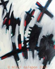 """Abstract Modern Art oil painting 24""""x30"""" black white grey red blue expressionist"""