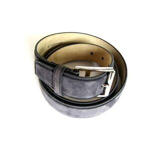 J-3318965 New Brioni Graphite Grey Suede Silver Buckle Belt Size 48 Fits 46