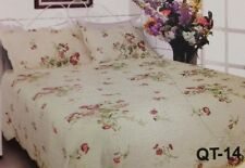 QT14 100% Cotton Queen Size 3pcs Small Roses Quilt-Reversible(2 Designs) 2 Shams