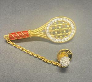 Gold Tone Red Enamel Swarovski Tennis Racquet  Ball Rhinestone Pin Brooch