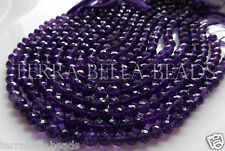 "9"" strand purple AMETHYST faceted round gem stone round beads 7mm"