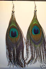Peruvian,Long  Peacock Feather Earrings, 4 inch~UK~S~uk seller