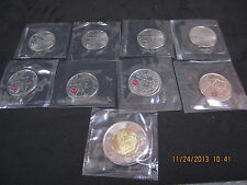 WAR 1812 COMPLETE SET OF 9 COMMEMORATIVE CANADA 2012 COINS RCM CELLOPHANE SEALED