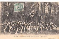 BLERE chasse à courre dans la forêt d'Ambroise une meute de chien timbrée 1906