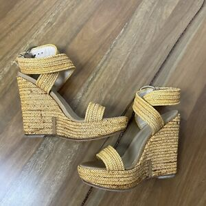Stuart Weitzman size 38 Woven Wedge Espadrilles Heels. Golden Wrap Strappy