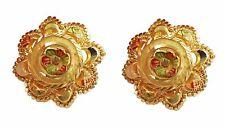 Certified Flower Design Solid 22K Indian Handmade Yellow Fine Gold Earrings