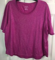 CHICO'S Sz 4 (XXL) Pink Silver Metallic Cotton Ultimate Tee Short Sleeve Top