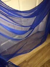 "25 MTR ROLL SOFT ROYAL BLUE TULLE STUDDED BRIDAL/DECORATION NET FABRIC 45"" WIDE"
