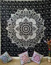 Ombre Mandala Flower Fabulous Queen Tapestry Fabric Cotton Bedcover Black& White