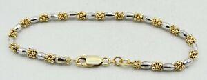 "14K Two Tone Gold Faceted Barrel & Beaded Cluster Bracelet 7"" 7.1g S2049"