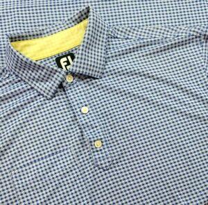 FootJoy FJ Golf Polo Blue Check Adult Short Sleeve Shirt Men XL Golfing Pocket