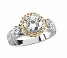 1.92 ct total Round DIAMOND Halo Engagement Wedding 14K Two Tone Gold Ring H SI1