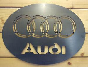 Premium Audi Quattro Metal Sign Wall Art Raw Steel Handmade car pub cave R8 A7