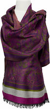 Pashmina Schal fuchsia lila Wolle wool scarf stole écharpe foulard Floral