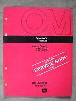 John Deere 310 Disk Operators manual