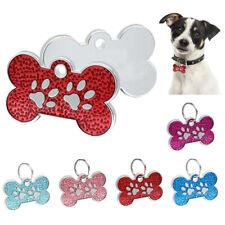 Zinc Alloy Bone Paw Print Glitter Pet Id Tags Custom Engraved Dog Cat Tag