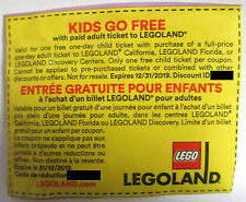 1x Legoland California Florida Discovery Free Kid Tickets Coupons EXP 12/31/2019
