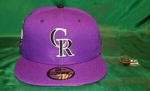 Hat Club Exclusive Purple Colorado Rockies 20th Anniv. patch Gray UV Fitted