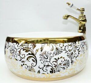 GOLD Unique Bathroom Cloakroom Ceramic Counter Top Wash Basin Sink Washing Bowl