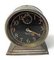 Antique 1927 Westclox Ben Hur Alarm Clock Metal Black Face Clock As-is Repair