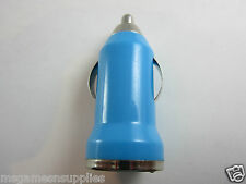 Light Blue USB Car Charger Adapter Lighter for iPhone Galaxy Blackberry Cables