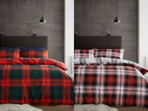100% Brushed Cotton Flannel Scottish Tartan Duvet Set / Quilt Cover In All Sizes