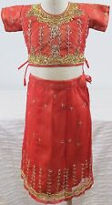 Indian/Pakistani Children's 2 Piece Red and Gold Sequin Embroidery size 4 Choli