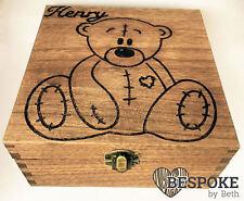 Personalised Wood Keepsake Box 16cm Teddy Bear New Baby Memories Christmas Gift
