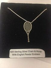 Tennis Racket PP-E Emblem on a 925 Sterling Silver Necklace 16,18,20,26,30