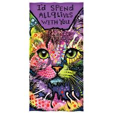 Dean Russo 9 Lives Cat Cotton Beach Towel