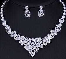 Boda nupcial Collar Pendiente Conjunto de joyas de cristal austriaco fiesta Baile de graduación formal
