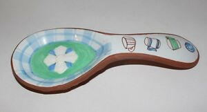 """RUSS - """"Cozy Kitchen Collection"""" - Ceramic Red Pottery Spoon Rest"""
