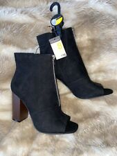 Womens Black Peeptoe Heeled Ankle Boots TV CD Size 8 Brand New Heels RRP £18