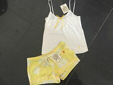 NWT Juicy Couture New & Gen. Yellow Cotton Shorty Set Size Small UK 8/10 & Logo