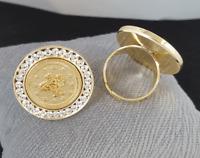 Tugra Yüzük 18 Ayar Altin Kaplama Ceyrek Gold Münzen Ring Gold Ring Gelin Dügün