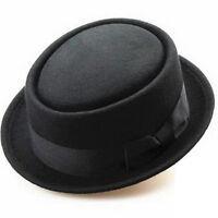 Black Cotton Felt Crushable Porkpie Weinlese-runde Short Brim Fedora Hut NEW