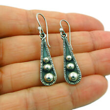 Long Ball Bead 925 Sterling Silver Drop Earrings Gift Boxed