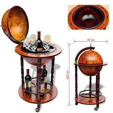 Globe Map Mini Bar Old Italian Style Wine Liquor Cabinet Storage Wood Rack Stand