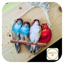 Four Birds On A Branch Necklace 🐦 Wooden ✨ Handmade 🌻Silver Plated Chain large